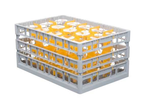 Glass basket - Clixrack - 600 x 400 mm - with tube extenders - 50.CR.620.P + subdivision
