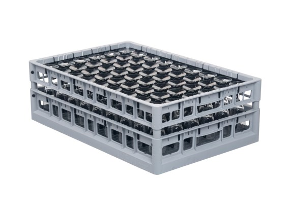 Glass basket - Clixrack - 600 x 400 mm - washing basket with double subdivision - with tube extenders - 50.CR.620.P + subdivision 2