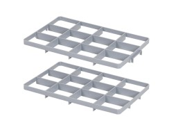 Set of 12 space subdivisions - BASIC glass crates - size 117 x 137 mm