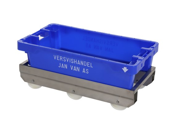 Fishing box trolley stainless steel - 790 x 400 mm - for fishing boxes 800 x 450 mm - A-89007-RVS-VI