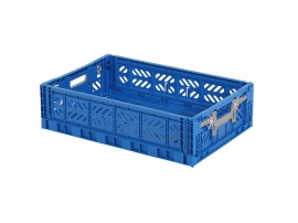 MULTIWAY folding crate - 600 x 400 x H 156 mm - blue