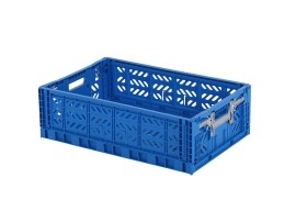 MULTIWAY folding crate - 600 x 400 x H 180 mm - blue